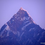 Spectacular morning view of Himalayan peak Fish Tail from Pokhara, Nepal